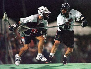 Mark Millon takes on England in 2002 Warrior gear